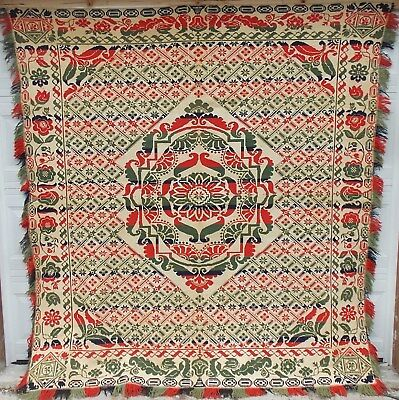 Early American Jacquard Woven Coverlet In Four Colors