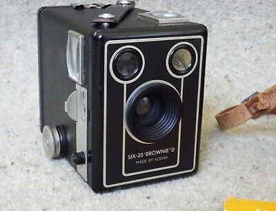 Kodak Brownie Six 20 Model box camera - 1950s, with case and instructions
