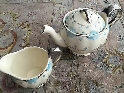 Rare Art Deco Frank Buckley & Son 1930s English Bone China Teapot & Creamer