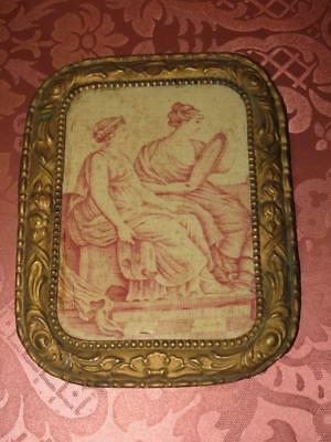 French Antique Toile de Jouy Picture in Repousse Frame...1800s