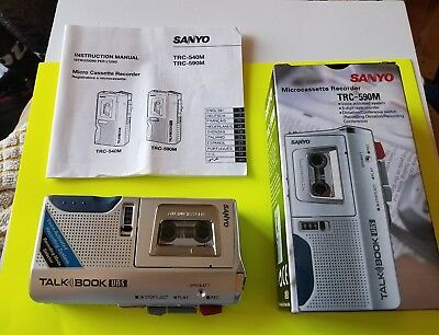 Sanyo Microcassette Recorder Trc-590M  Talk Book Very Good Working/cosmetic Con.