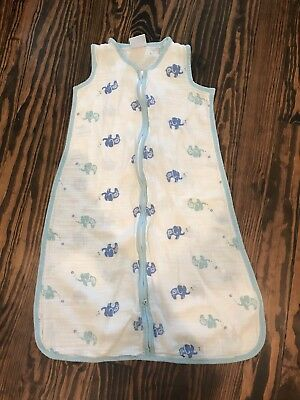 Aden By Aden And Anais Jungle Jam Elephant Blue Muslin Blanket Sleep Sack Large