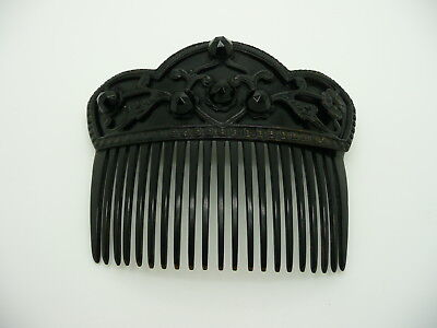 Vintage Antique Black Beaded Celluloid Ornate Victorian Style Hair Comb