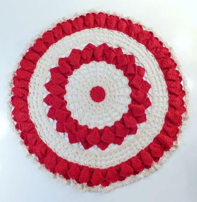 "Vintage LARGE HAND CROCHETED RAISED RED & IVORY DOILY 21"" In Diameter"