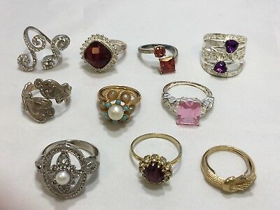 Lot of 10 Vintage to Now Costume Jewelry Rings Avon Rhinestone Faux Pearl