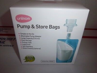 UNIMOM Pump and Store Bags, Breastmilk, 20 Count, NEW