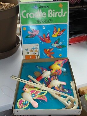 Vintage Action Cradle Birds Mobile Crib Stahlwood Toy Co. Home Decor with Box