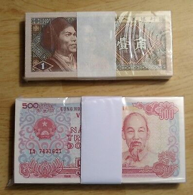 (100 Pcs) 1988 Vietnam 500 Dong & (100 Pcs) 1980 China 1 Yi Jiao Sealed Pack Unc