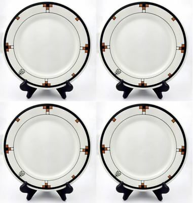 "Set of 4 Roycroft Buffalo China 9.5"" Dinner Plates Renaissance Design"