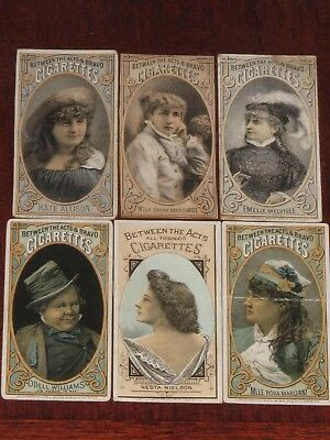 """1880's N342 BETWEEN THE ACTS """"ACTORS & ACTRESSES"""" -  LOT OF 6"""