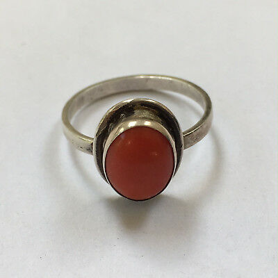 LOVELY classic VINTAGE 1970s SILVER + CORAL RING Yugoslavia DUBROVNIK hallmarked