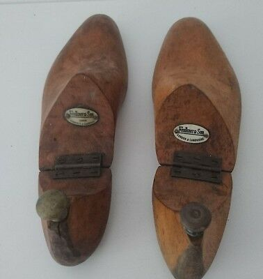 PAIR of ANTIQUE or VINTAGE CARVED WOODEN STEEL HINGED SHOE LASTS 11""