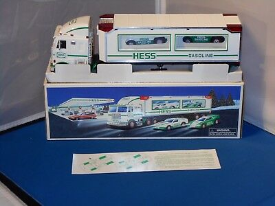 1997 Hess Gasoline Toy Truck & 2 Racers In Original Box! Tested & Works!