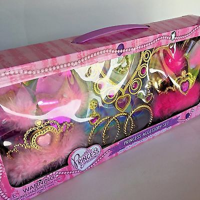 Princess Costume Accessory Set for Girls, Tiara Crown, Costume Jewelry and Shoes