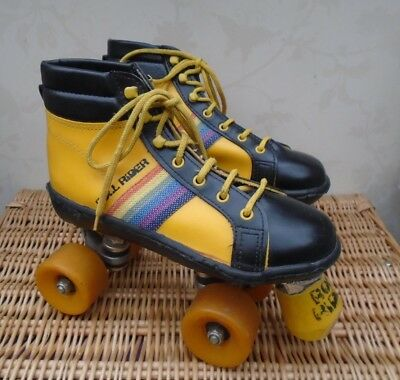 Vintage 1970s / 1980 Original Roll Rider Roller Skates Boots yellow Size 6 / 39