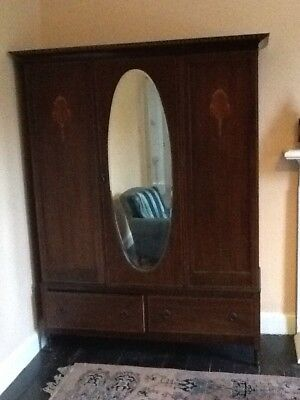Antique Double Wardrobe with mirror and drawers