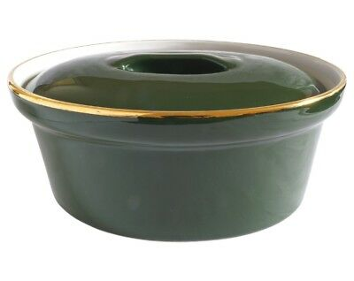 Apilco Casserole Dish and Lid - Green & Gold French Bistro Ware