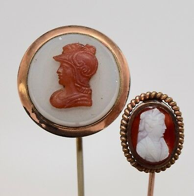 Lot of 2 Antique Cameo Stick Pins Gold Filled Carved Shell