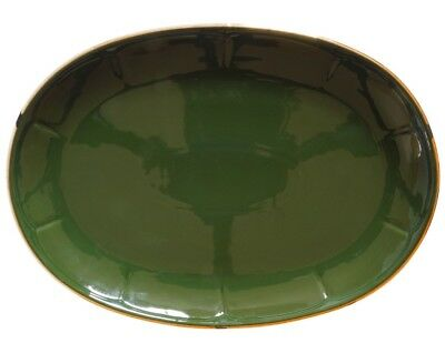 Apilco Oval Steak Plate - Green & Gold French Bistro Ware - Multiple Available