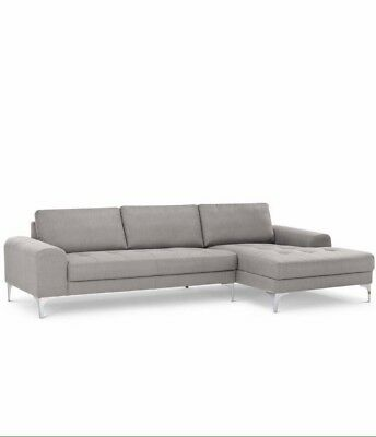 Made.com Luciano Right Hand Grey Leather Corner Sofa (Rrp £1699   Sold