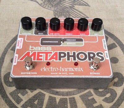 Used Electro-Harmonix Bass Metaphors Compressor Preamp and DI Bass Guitar Pedal
