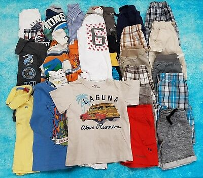 TODDLER BOY LOT OF 27 MIX 'n MATCH CLOTHES/TOPS/BOTTOMS SIZES 4/4T4-5  SUMMER