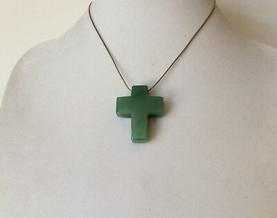 Beautiful!!!! Vintage Jay King DTR 925 Silver Jadeite Green Stone Cross Necklace