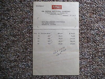 Dr Pepper Invoice with Logo, Lafayette, Indiana, Jan 1949 -Very Good Condition
