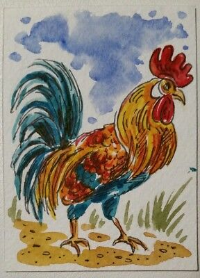 aceo Rooster ORIGINAL PAINTING Watercolor ink miniature art card country farm