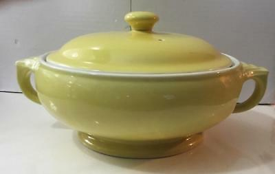Hall China  Bright Yellow Kitchenware  Round Lid Top &  Sundial Bottom Casserole
