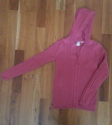 Size Small Old Navy Maternity Hooded Sweater Pink Cable Knit Hood EUC Top Shirt