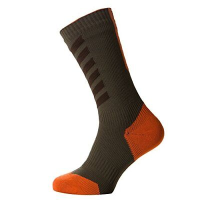 SealSkinz Mtb Thin Mid with Hydro Stop Chaussettes Mixte, Dark Olive/Mud/Meth...