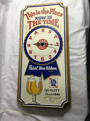 "Vintage Pabst Blue Ribbon Beer ""This is the Place"" Clock - Works"