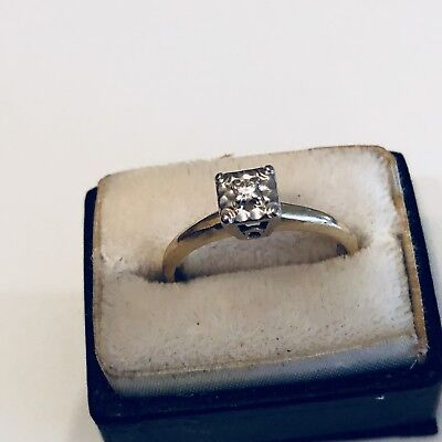 1930s Antique Vintage 14k 3mm Diamond Antique Ring