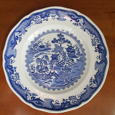 """MASON'S Blue WILLOW Set 9 Dinner Plates 10.25"""" Vintage Ironstone Made in England"""