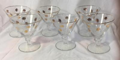 6 Hall Autumn Leaf Jewel Tea  Libbey Foot Sherbets  6 1/2 Oz. 1960-61 Free Ship