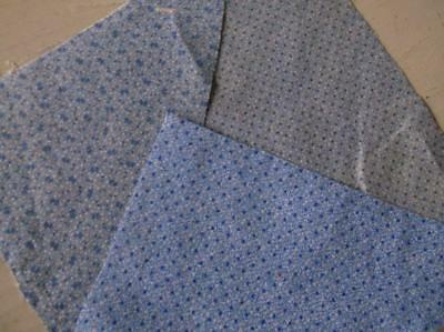 ~Back In Time Textiles~3 diff Antique 1860 Lancaster blue fabric pieces~