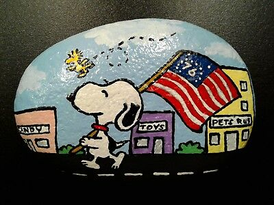 Snoopy Parade Peanuts Original Hand Painted Rock Stone Art By Suzanne Foster