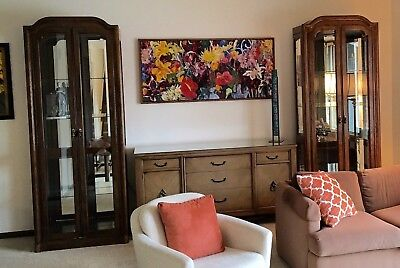 2 curio cabinets w/ glass shelves w/interior light. Mirrored back.Ex.Condition