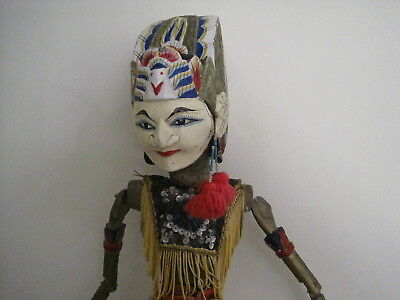 Large Asian Marionette Puppet Doll With Large Heavy Ornate Head & Red Tassel