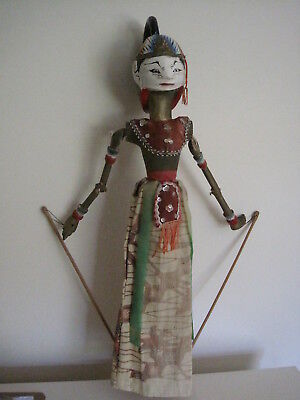 Ornate Asian Marionette Puppet Doll With Black Headdress Curl
