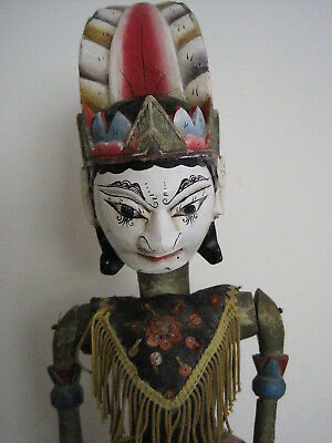 Ornate Asian Marionette Puppet Doll With Pink Headdress