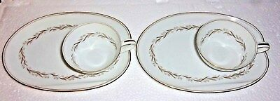 Pair Noritake Laurel Snack Plates & Matching Cups