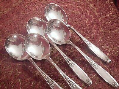 Ambassador 1847 Rogers Bros Silverplate flatware set of 5 gumbo round spoons