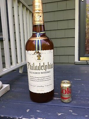 "Large 25"" Philadelphia Blended Whiskey - Vintage Glass Bottle Decor Bar Pub"