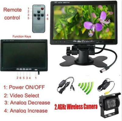 "7"" Monitor for RV Truck+Wireless Rear View Backup Camera NightView System 12-24V"