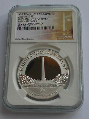 2015 Niue Silver Washington Monument $2 Two Dollar Ngc Pf70 Ultra Cameo