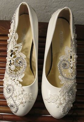 White Patent Leather Platform Wedding Shoes Size 6.5(245) Lacey Bling Pearl Nwot