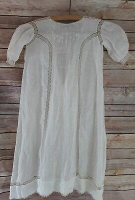 Beautiful VTG Baby Christening Eyelet Lace & Embroiderey Long Cotton Ivory gown.