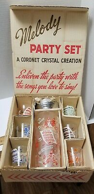 Vintage cocktail set 7 pc ORIGINAL BOX- Melody music CORONET CRYSTAL
